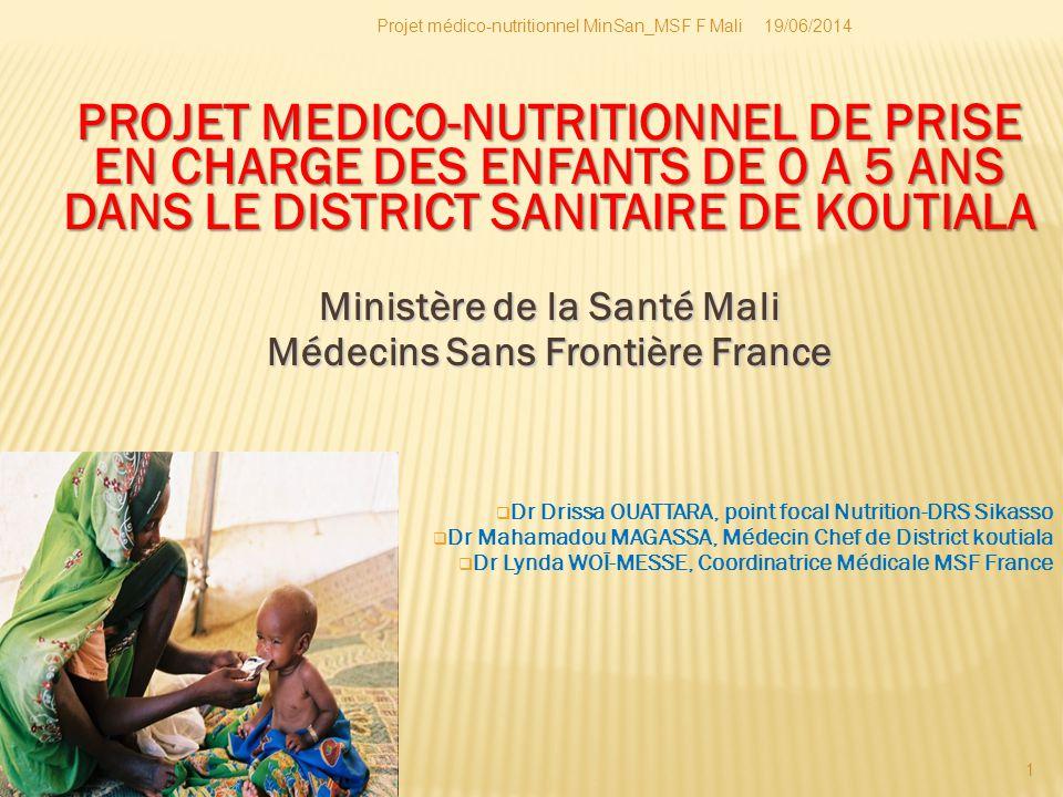 19/06/2014Projet médico-nutritionnel MinSan_MSF F Mali 2  Situation: 3 ème ville plus peuplée du Mali, région de Sikasso  Population 2010: 590376 Hts avec une densité de 47 hts/ Km2  Taux d'accroissement: 2,7  Appartenance à la zone géographique soudanienne, appelé (grenier du Mali )  Principales morbidités (SLIS 2007- 2008): paludisme (51%), IRA (16%) et diarrhées (11%)  accès aux soins faible: 0,43 consultations/an par enfant de moins de 5 ans