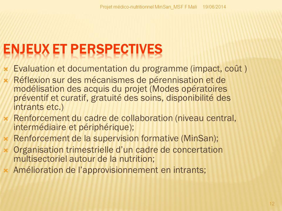 19/06/2014Projet médico-nutritionnel MinSan_MSF F Mali 12  Evaluation et documentation du programme (impact, coût )  Réflexion sur des mécanismes de
