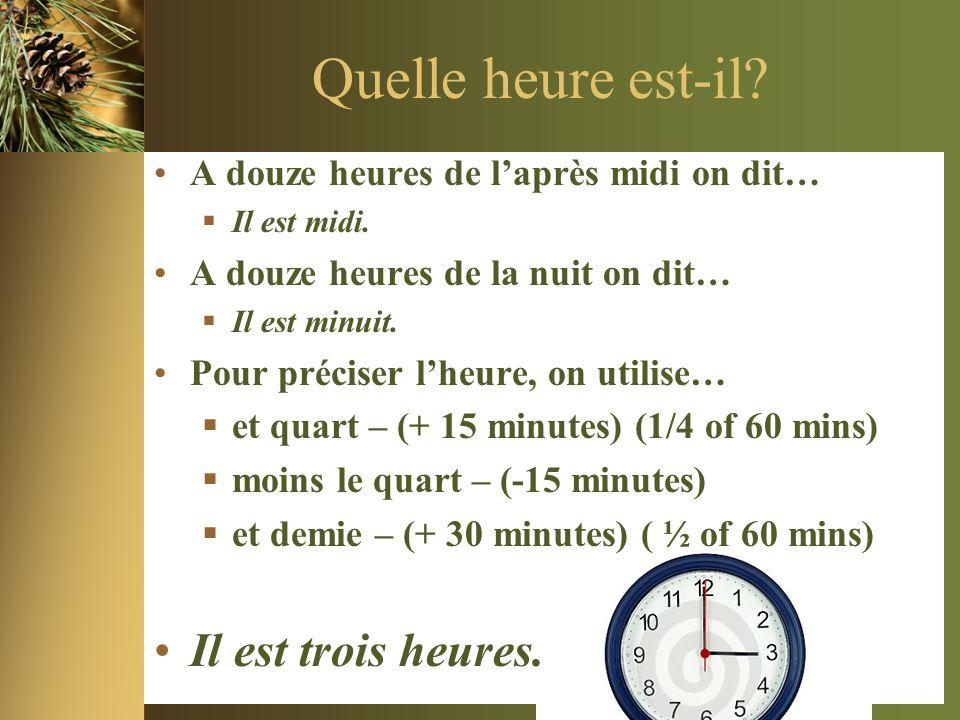 Quelle heure est-il? •A douze heures de l'après midi on dit…  Il est midi. •A douze heures de la nuit on dit…  Il est minuit. •Pour préciser l'heure