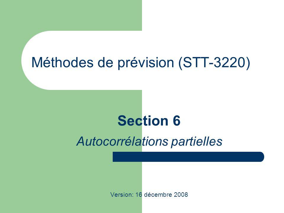 Méthodes de prévision (STT-3220) Section 6 Autocorrélations partielles Version: 16 décembre 2008