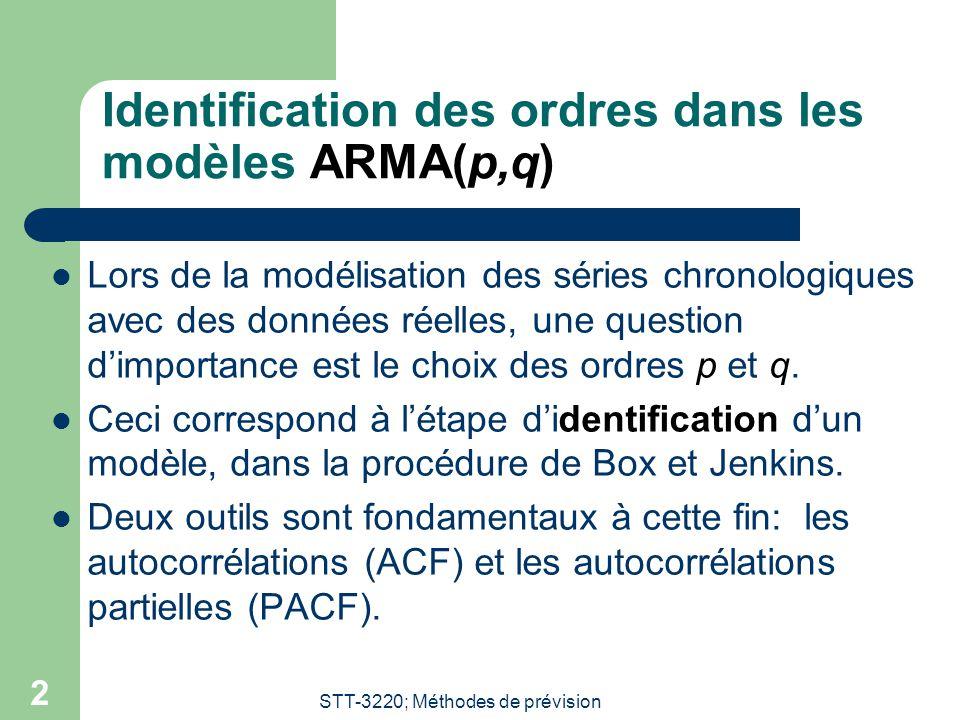 STT-3220; Méthodes de prévision 2 Identification des ordres dans les modèles ARMA(p,q)  Lors de la modélisation des séries chronologiques avec des do