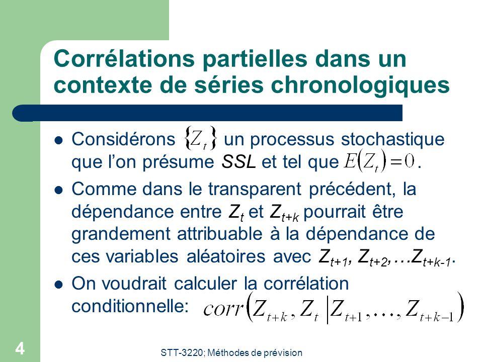 STT-3220; Méthodes de prévision 5 Définition formelle de la corrélation partielle  Soient Z t et Z t+k.