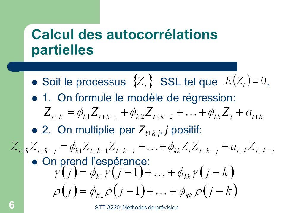 STT-3220; Méthodes de prévision 7 On forme le système d'équations suivant pour j = 1,2,…,k:  Le système devient:  Il suffit de résoudre ce système avec la règle de Cramer; l'autocorrélation partielle de délai k est  kk.