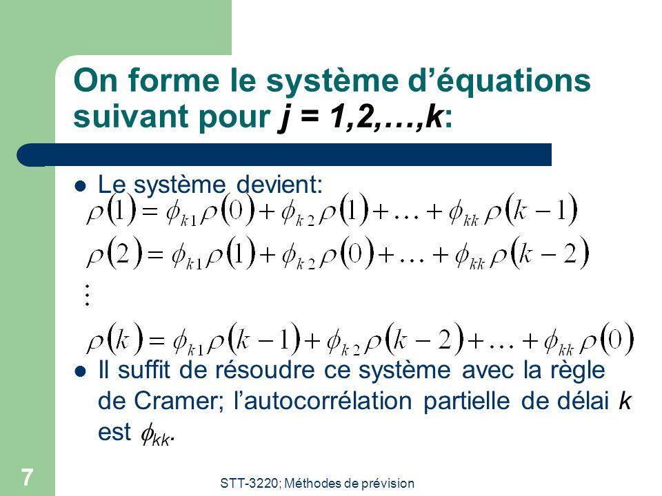STT-3220; Méthodes de prévision 7 On forme le système d'équations suivant pour j = 1,2,…,k:  Le système devient:  Il suffit de résoudre ce système a
