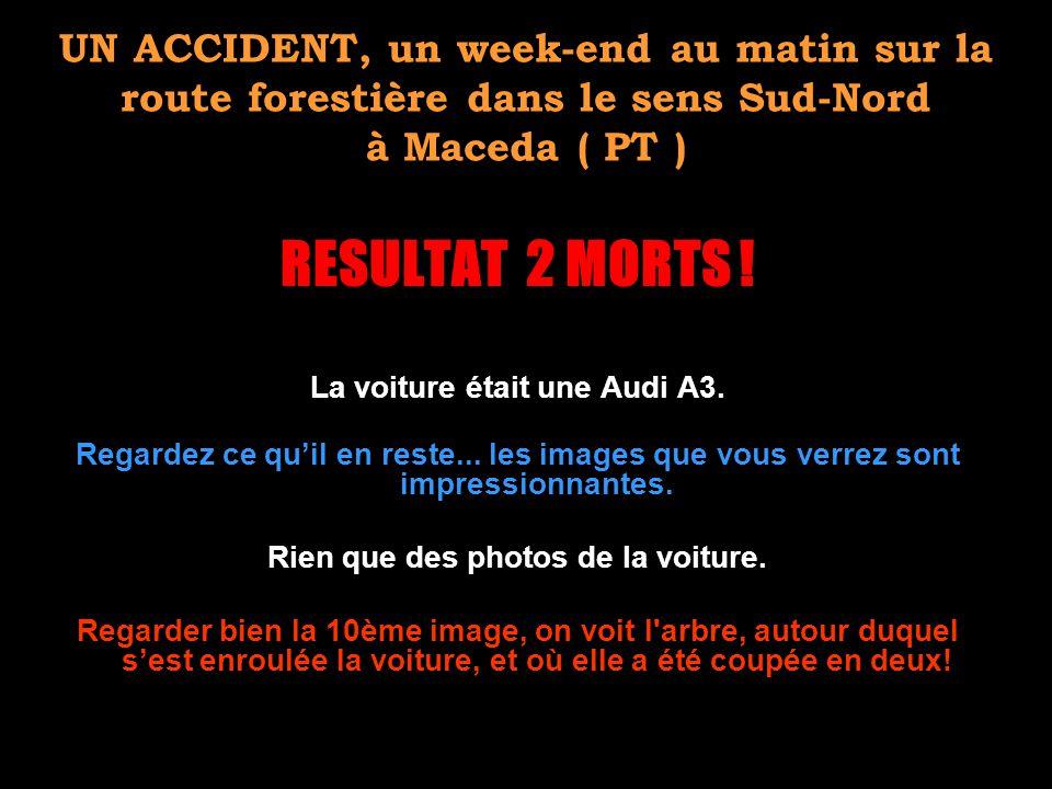 UN ACCIDENT, un week-end au matin sur la route forestière dans le sens Sud-Nord à Maceda ( PT ) RESULTAT 2 MORTS ! La voiture était une Audi A3. Regar