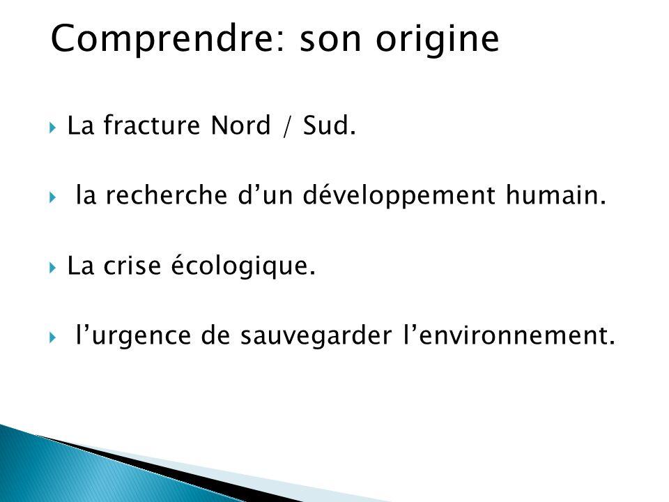  La fracture Nord / Sud.  la recherche d'un développement humain.  La crise écologique.  l'urgence de sauvegarder l'environnement. Comprendre: son