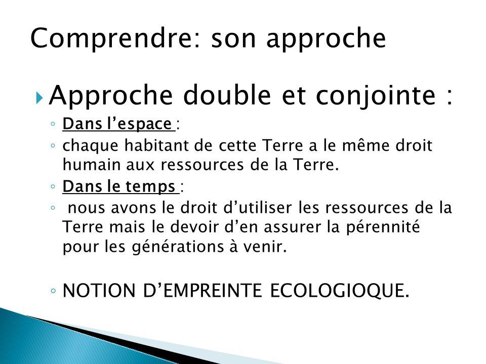  Approche double et conjointe : ◦ Dans l'espace : ◦ chaque habitant de cette Terre a le même droit humain aux ressources de la Terre. ◦ Dans le temps