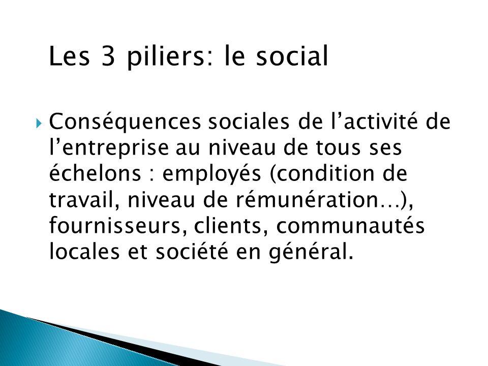  Conséquences sociales de l'activité de l'entreprise au niveau de tous ses échelons : employés (condition de travail, niveau de rémunération…), fourn