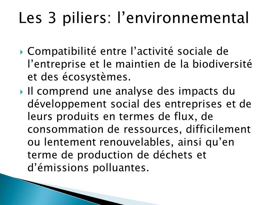  Compatibilité entre l'activité sociale de l'entreprise et le maintien de la biodiversité et des écosystèmes.  Il comprend une analyse des impacts d