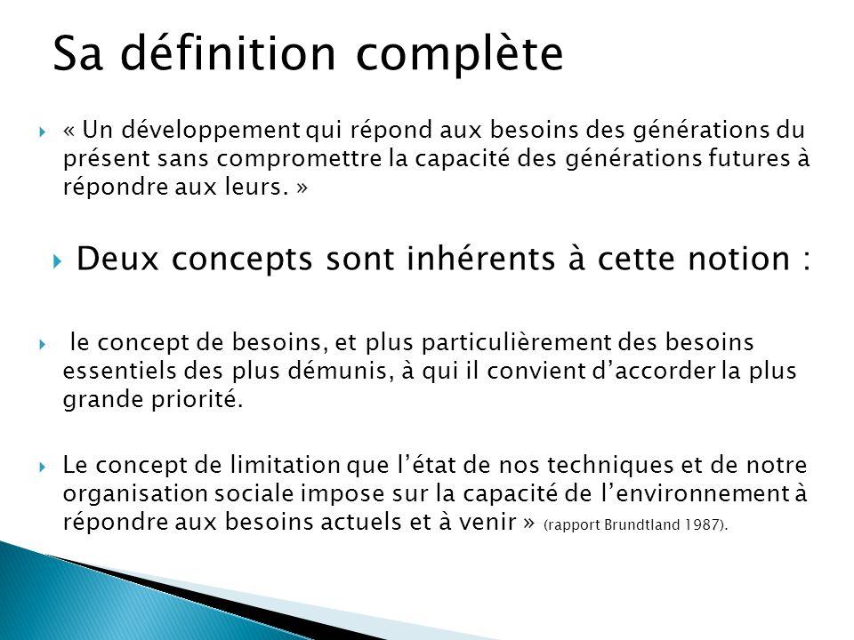  « Un développement qui répond aux besoins des générations du présent sans compromettre la capacité des générations futures à répondre aux leurs. » 