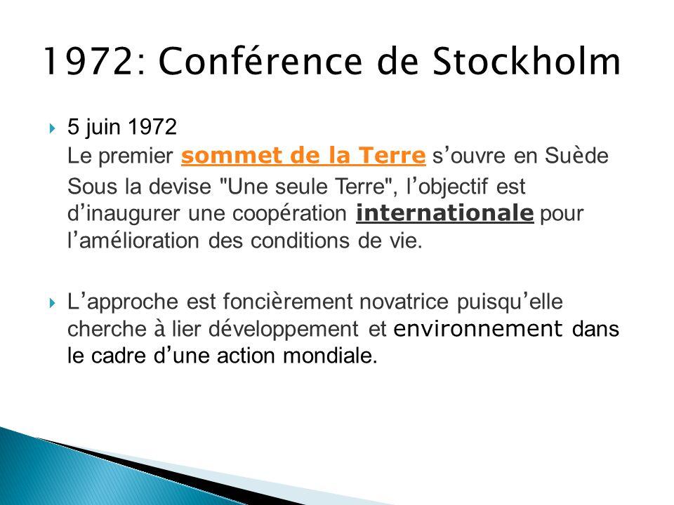 1987 : Le Rapport Brundtland  Publié par la Commission mondiale sur l'environnement et le développement,  Le Rapport Brundtland (ayant pour titre Notre Avenir à Tous) a été nommé ainsi du nom de la présidente de la commission, la Norvégienne Gro Harlem Brundtland.
