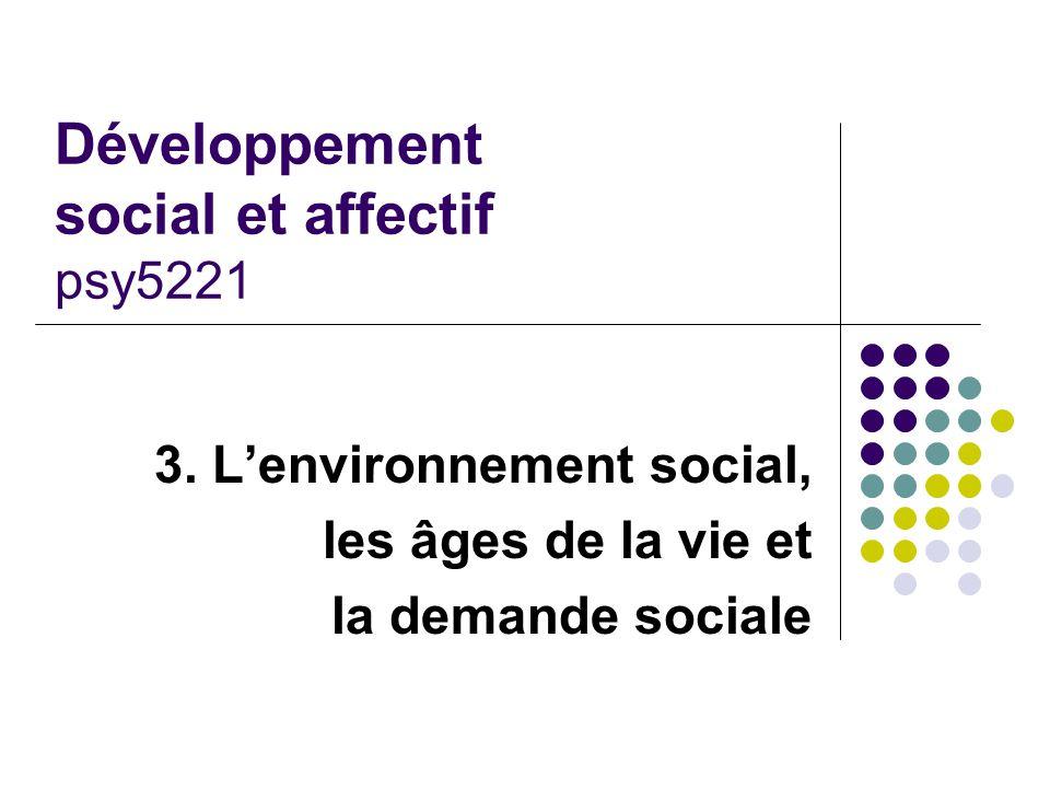 Développement social et affectif psy5221 3. L'environnement social, les âges de la vie et la demande sociale