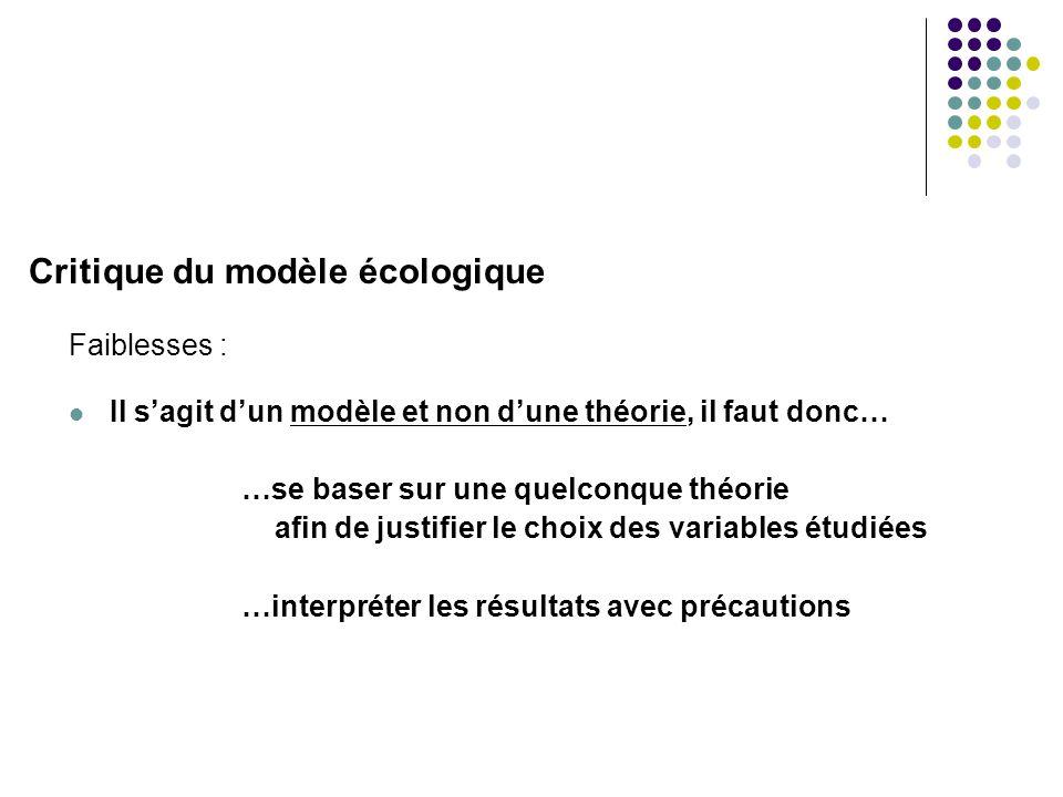 Critique du modèle écologique Faiblesses :  Il s'agit d'un modèle et non d'une théorie, il faut donc… …se baser sur une quelconque théorie afin de ju