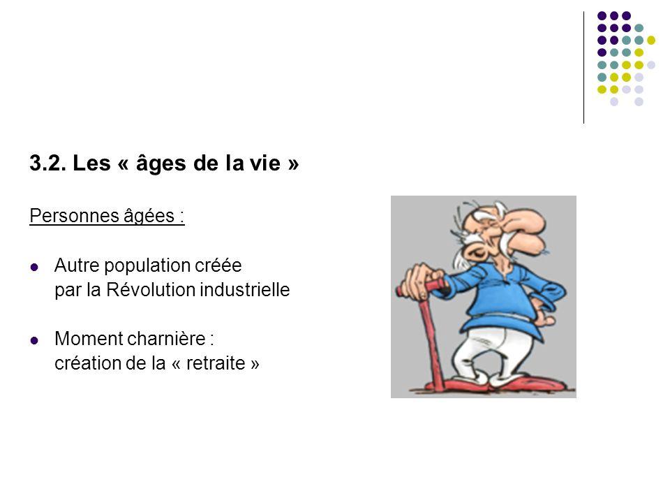 3.2. Les « âges de la vie » Personnes âgées :  Autre population créée par la Révolution industrielle  Moment charnière : création de la « retraite »