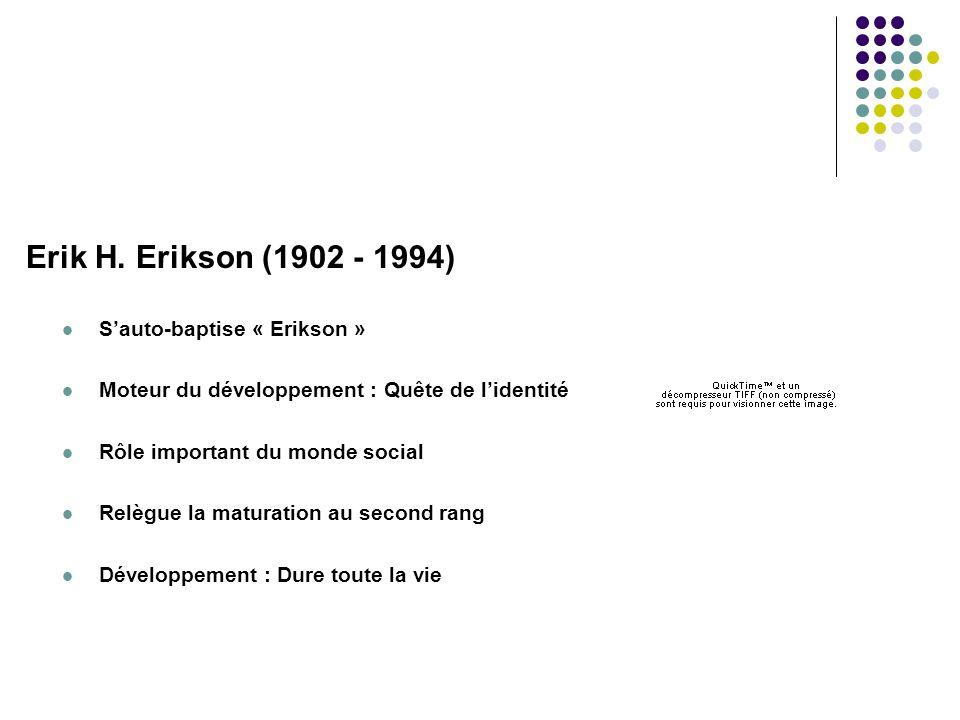 Erik H. Erikson (1902 - 1994)  S'auto-baptise « Erikson »  Moteur du développement : Quête de l'identité  Rôle important du monde social  Relègue