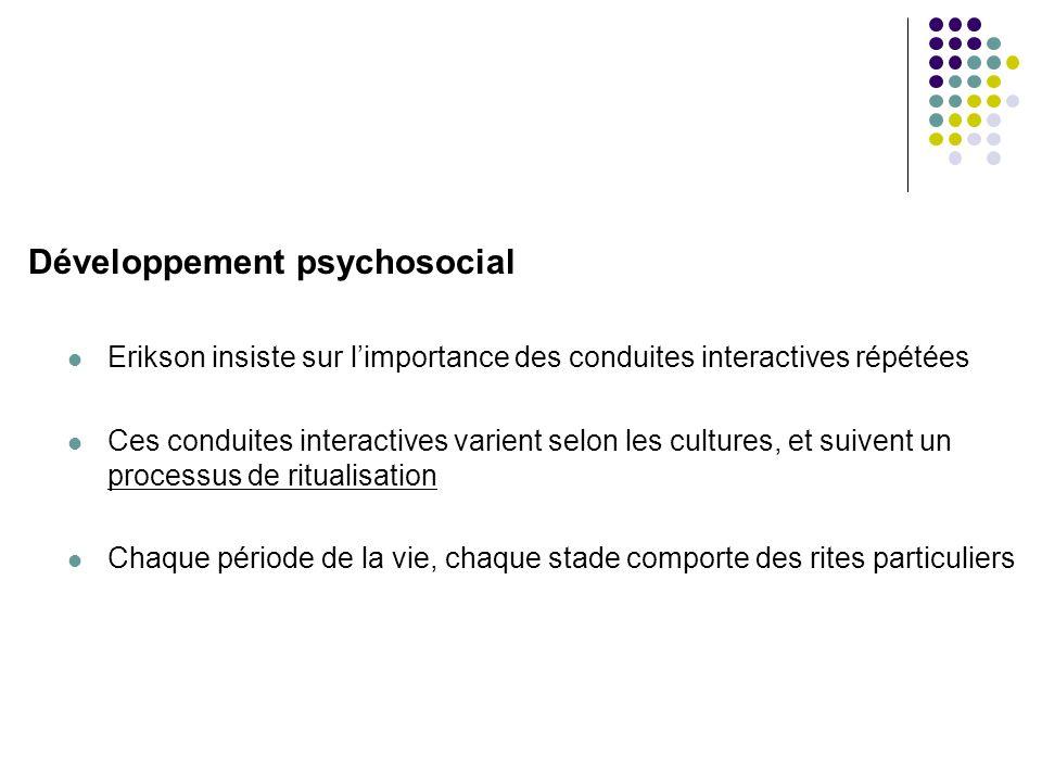 Développement psychosocial  Erikson insiste sur l'importance des conduites interactives répétées  Ces conduites interactives varient selon les cultu