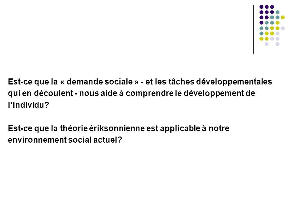 Est-ce que la « demande sociale » - et les tâches développementales qui en découlent - nous aide à comprendre le développement de l'individu? Est-ce q