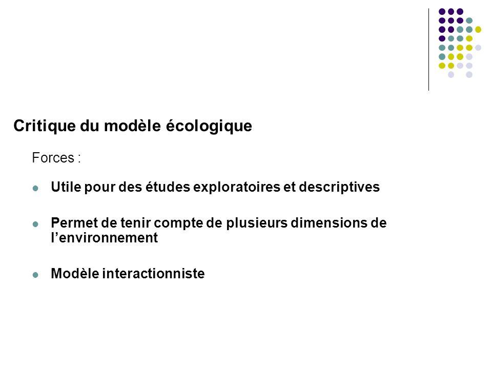 Critique du modèle écologique Faiblesses :  Il s'agit d'un modèle et non d'une théorie, il faut donc… …se baser sur une quelconque théorie afin de justifier le choix des variables étudiées …interpréter les résultats avec précautions