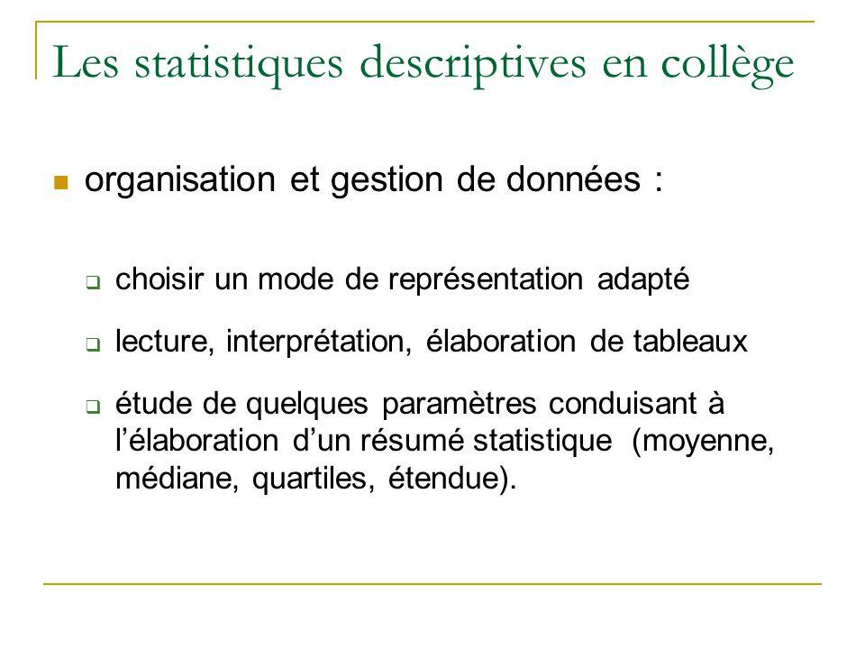 Les statistiques descriptives en collège  organisation et gestion de données :  choisir un mode de représentation adapté  lecture, interprétation, élaboration de tableaux  étude de quelques paramètres conduisant à l'élaboration d'un résumé statistique (moyenne, médiane, quartiles, étendue).