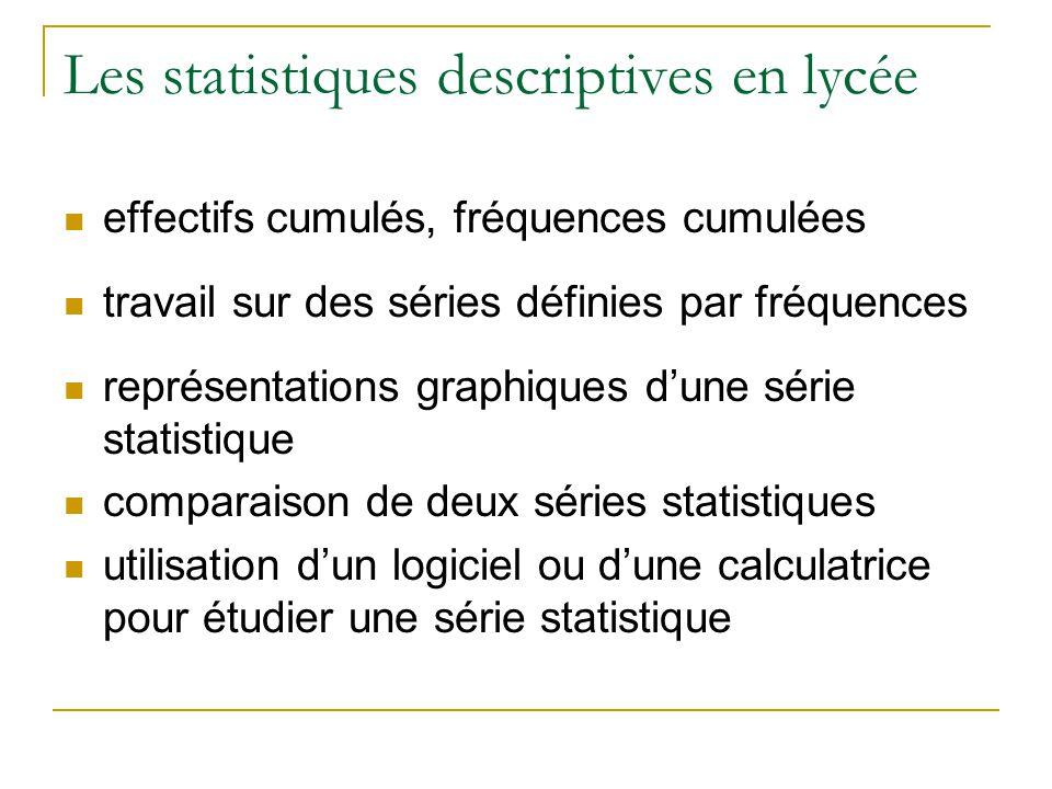 Les statistiques descriptives en lycée  effectifs cumulés, fréquences cumulées  travail sur des séries définies par fréquences  représentations graphiques d'une série statistique  comparaison de deux séries statistiques  utilisation d'un logiciel ou d'une calculatrice pour étudier une série statistique
