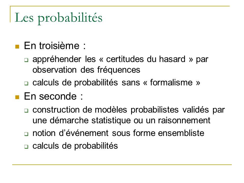 Les probabilités  En troisième :  appréhender les « certitudes du hasard » par observation des fréquences  calculs de probabilités sans « formalisme »  En seconde :  construction de modèles probabilistes validés par une démarche statistique ou un raisonnement  notion d'événement sous forme ensembliste  calculs de probabilités