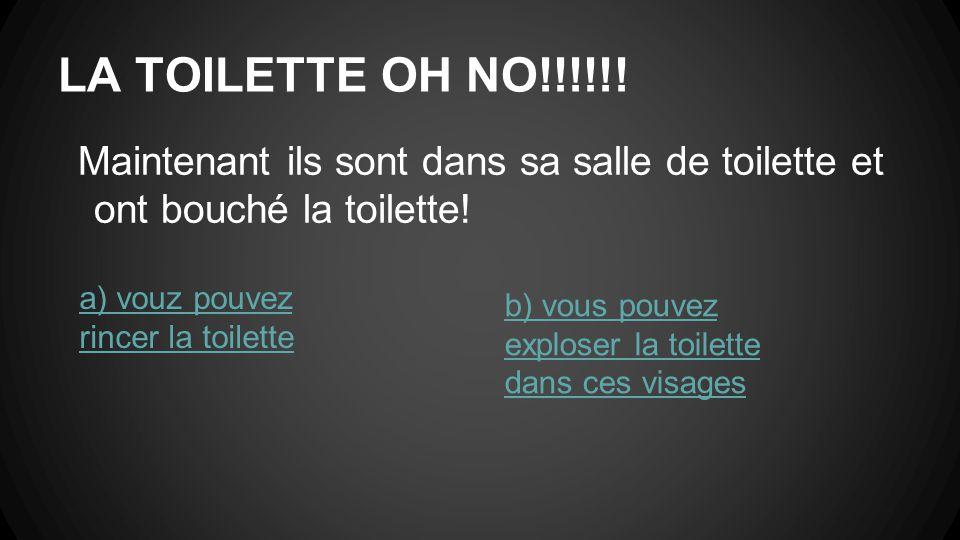 LA TOILETTE OH NO!!!!!. Maintenant ils sont dans sa salle de toilette et ont bouché la toilette.