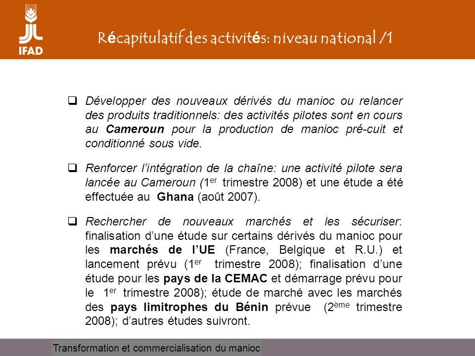 Cassava processing and marketing R é capitulatif des activit é s: niveau national /1  Développer des nouveaux dérivés du manioc ou relancer des produ
