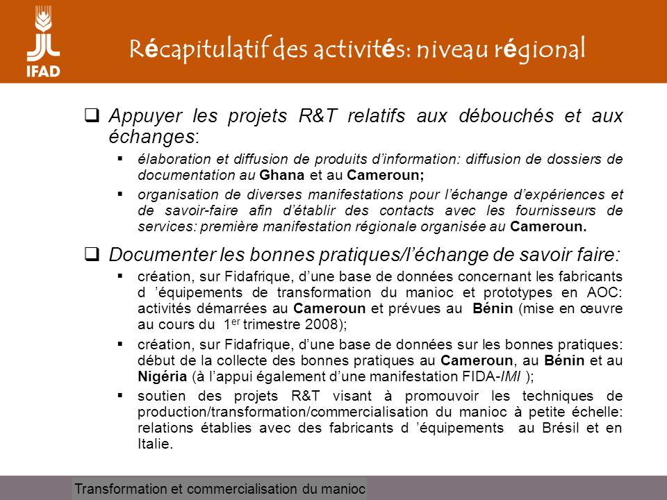 Cassava processing and marketing R é capitulatif des activit é s: niveau r é gional  Appuyer les projets R&T relatifs aux débouchés et aux échanges: