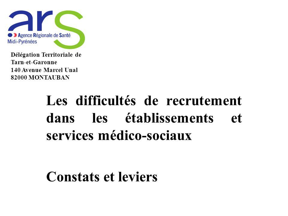 Les difficultés de recrutement dans les établissements et services médico-sociaux Constats et leviers Délégation Territoriale de Tarn-et-Garonne 140 Avenue Marcel Unal 82000 MONTAUBAN
