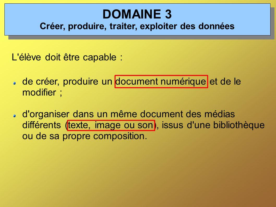 de créer, produire un document numérique et de le modifier ; d organiser dans un même document des médias différents (texte, image ou son), issus d une bibliothèque ou de sa propre composition.
