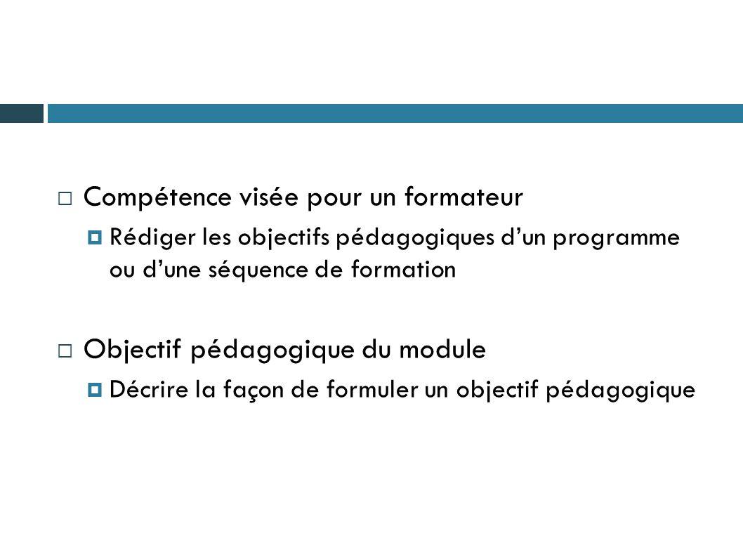  Compétence visée pour un formateur  Rédiger les objectifs pédagogiques d'un programme ou d'une séquence de formation  Objectif pédagogique du modu