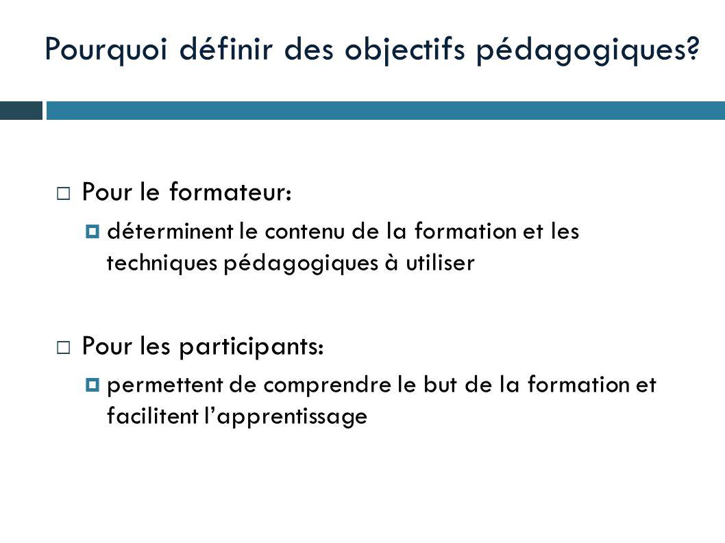 Pourquoi définir des objectifs pédagogiques?  Pour le formateur:  déterminent le contenu de la formation et les techniques pédagogiques à utiliser 