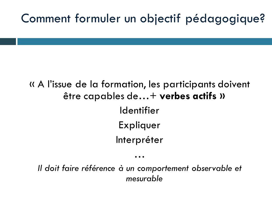 Comment formuler un objectif pédagogique? « A l'issue de la formation, les participants doivent être capables de…+ verbes actifs » Identifier Explique