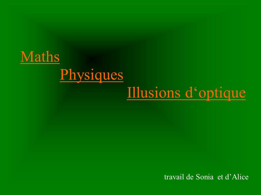 Maths a)Les constructions géométriques b)Les anamorphoses c)Tableaux de logique Retour au sommaire L escalier sans fin (illusion d optique chez solar)