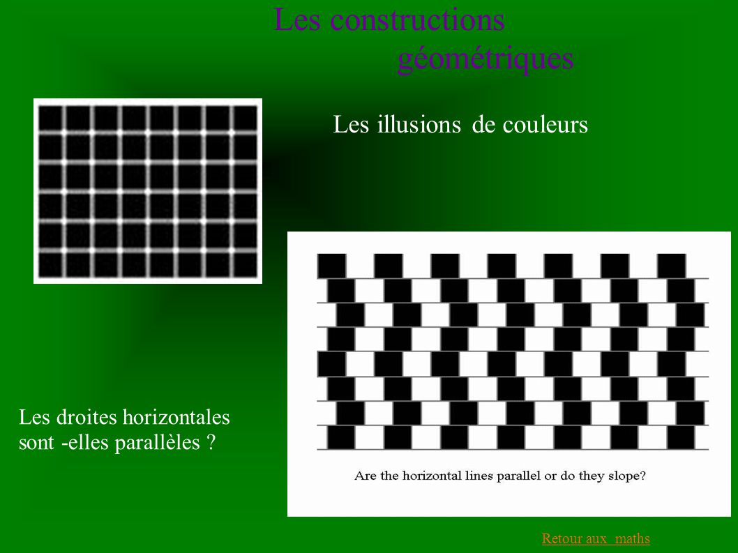 Les constructions géométriques Les illusions de couleurs Retour aux maths Les droites horizontales sont -elles parallèles ?