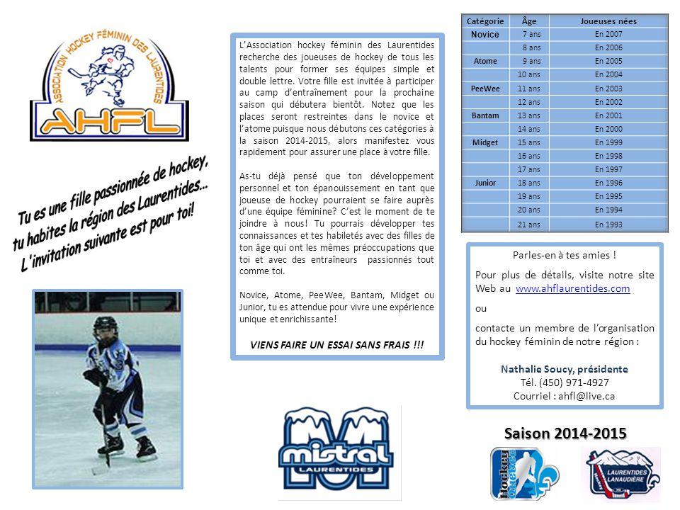 L'Association hockey féminin des Laurentides recherche des joueuses de hockey de tous les talents pour former ses équipes simple et double lettre.
