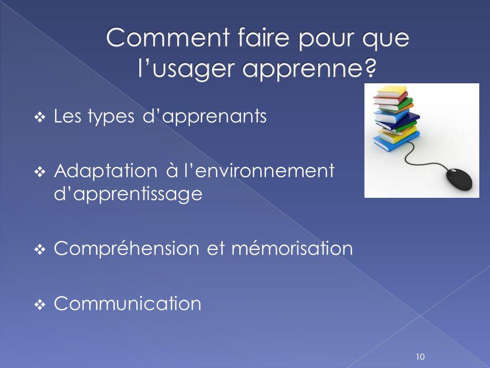  Les types d'apprenants  Adaptation à l'environnement d'apprentissage  Compréhension et mémorisation  Communication 10