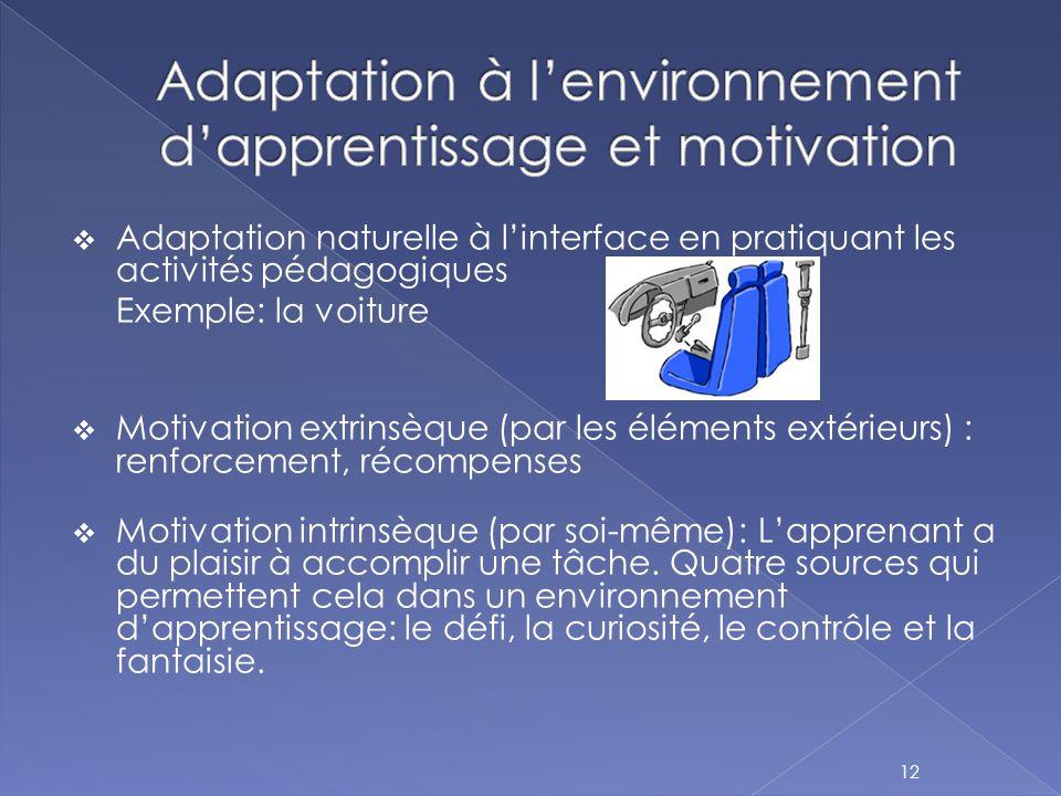  Adaptation naturelle à l'interface en pratiquant les activités pédagogiques Exemple: la voiture  Motivation extrinsèque (par les éléments extérieur