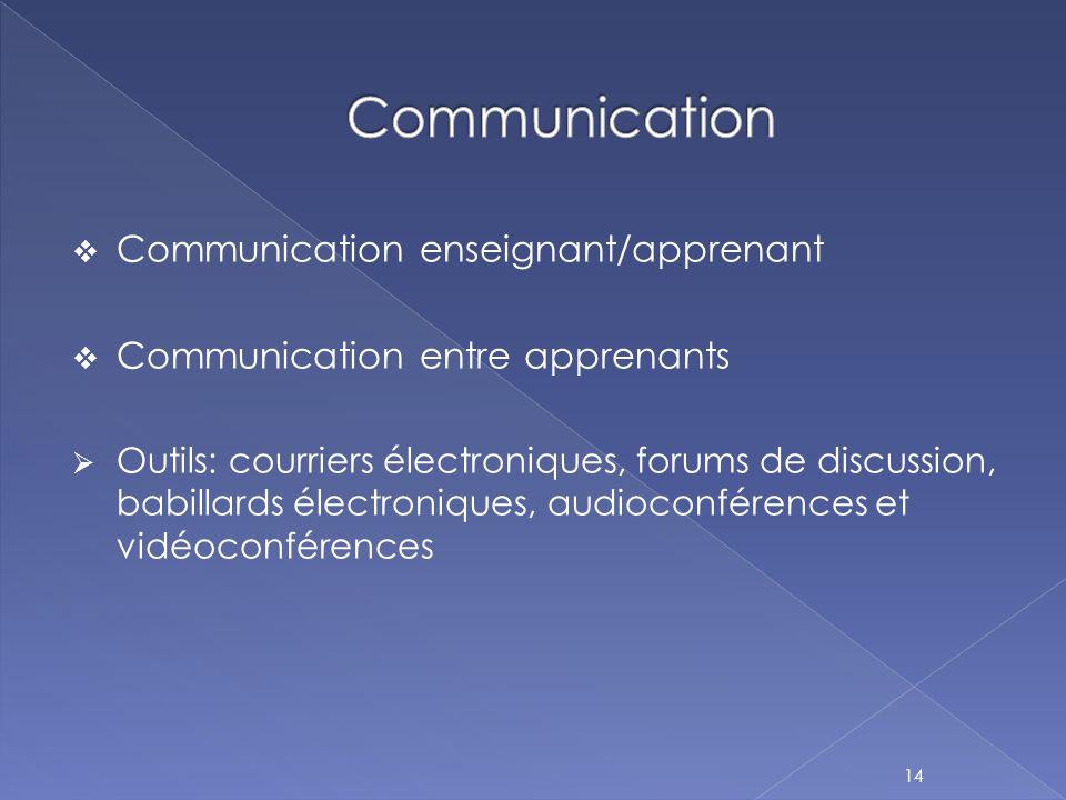  Communication enseignant/apprenant  Communication entre apprenants  Outils: courriers électroniques, forums de discussion, babillards électronique