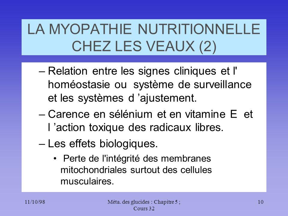11/10/9810Méta. des glucides : Chapitre 5 ; Cours 32 LA MYOPATHIE NUTRITIONNELLE CHEZ LES VEAUX (2) –Relation entre les signes cliniques et l' homéost