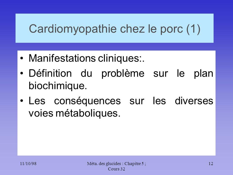 11/10/9812Méta. des glucides : Chapitre 5 ; Cours 32 Cardiomyopathie chez le porc (1) •Manifestations cliniques:. •Définition du problème sur le plan