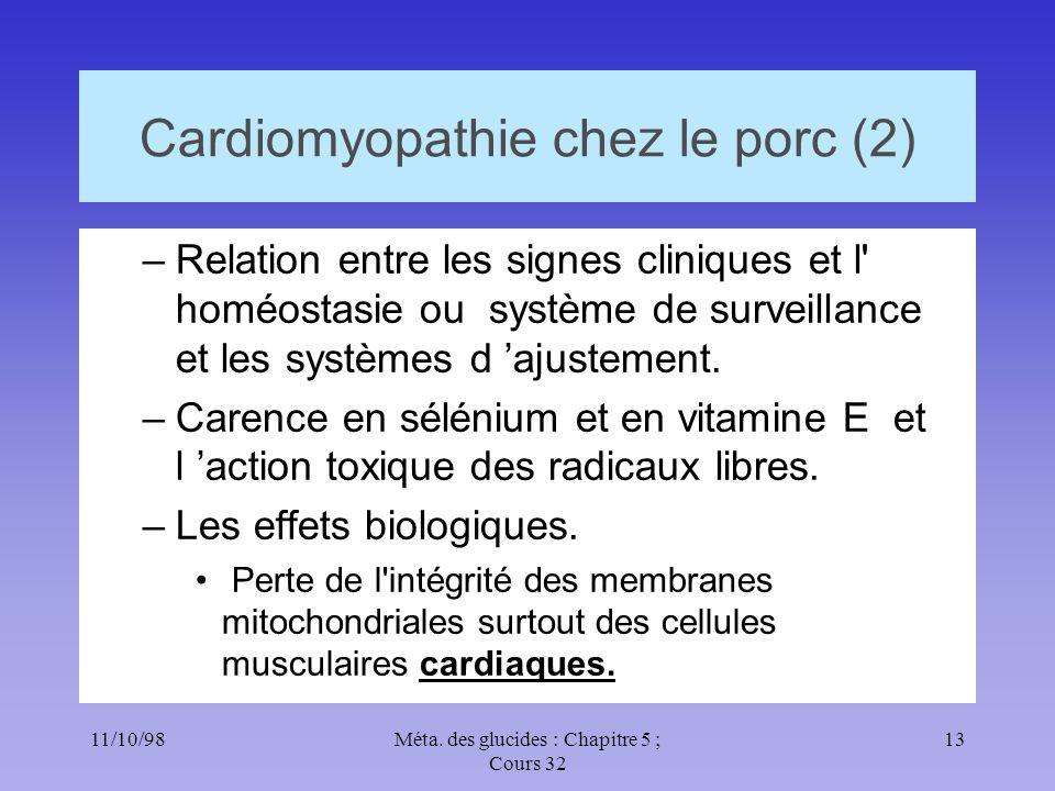 11/10/9813Méta. des glucides : Chapitre 5 ; Cours 32 Cardiomyopathie chez le porc (2) –Relation entre les signes cliniques et l' homéostasie ou systèm