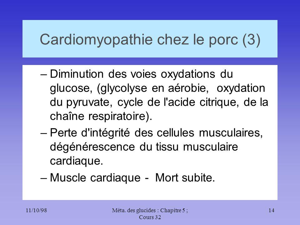 11/10/9814Méta. des glucides : Chapitre 5 ; Cours 32 Cardiomyopathie chez le porc (3) –Diminution des voies oxydations du glucose, (glycolyse en aérob