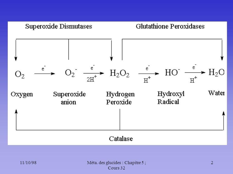 11/10/983Méta. des glucides : Chapitre 5 ; Cours 32 Les radicaux libres Les stress oxydatifs