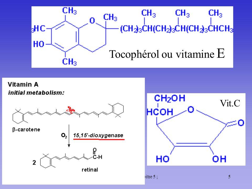 11/10/985Méta. des glucides : Chapitre 5 ; Cours 32 Tocophérol ou vitamine E Vit.C