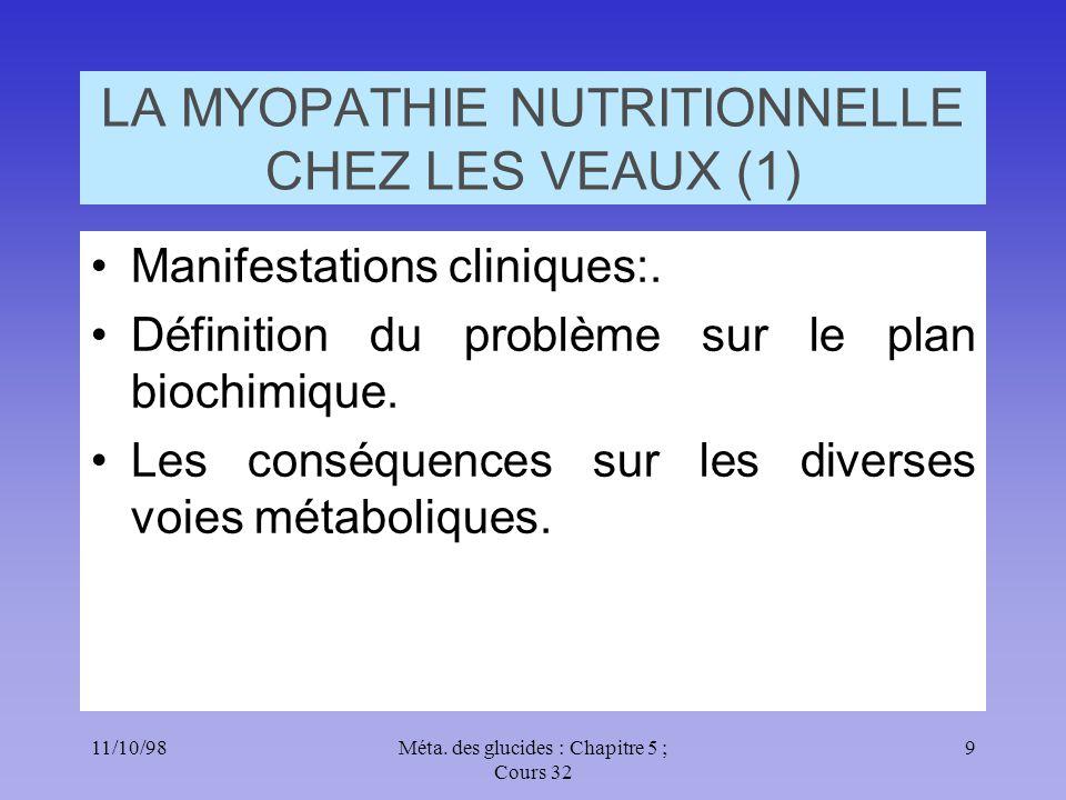 11/10/989Méta. des glucides : Chapitre 5 ; Cours 32 LA MYOPATHIE NUTRITIONNELLE CHEZ LES VEAUX (1) •Manifestations cliniques:. •Définition du problème
