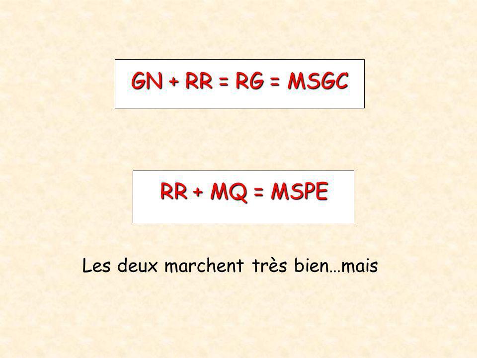 GN + RR = RG = MSGC RR + MQ = MSPE Les deux marchent très bien…mais