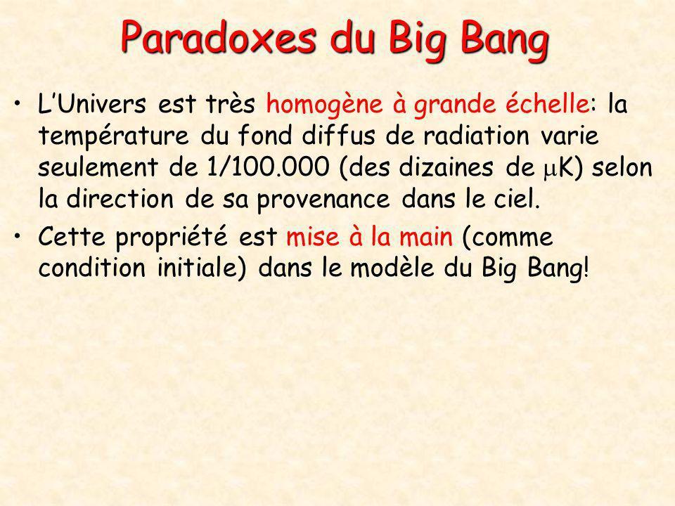 Paradoxes du Big Bang •L'Univers est très homogène à grande échelle: la température du fond diffus de radiation varie seulement de 1/100.000 (des diza