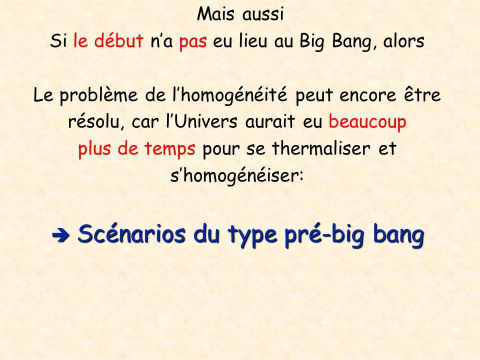 Mais aussi Si le début n'a pas eu lieu au Big Bang, alors Le problème de l'homogénéité peut encore être résolu, car l'Univers aurait eu beaucoup plus