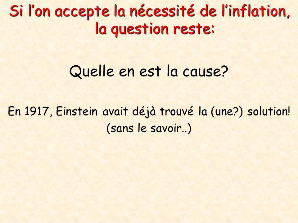 Si l'on accepte la nécessité de l'inflation, la question reste: Quelle en est la cause? En 1917, Einstein avait déjà trouvé la (une?) solution! (sans